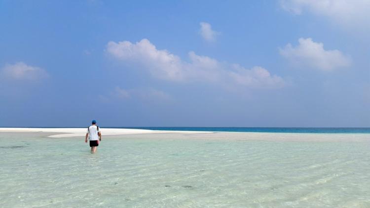 The shallow waters off Bangaram island
