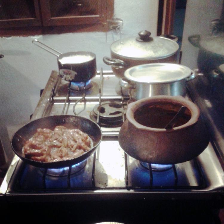 Prawn balchao and mushroom xacuti on the stove copy for blog