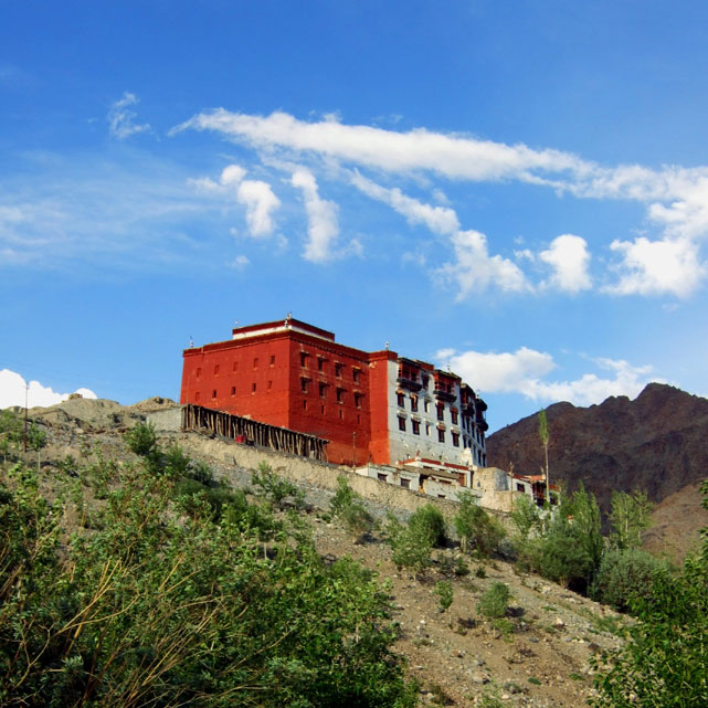 An inviting-looking hilltop monastery on the Leh-Srinigar highway in Ladakh, India
