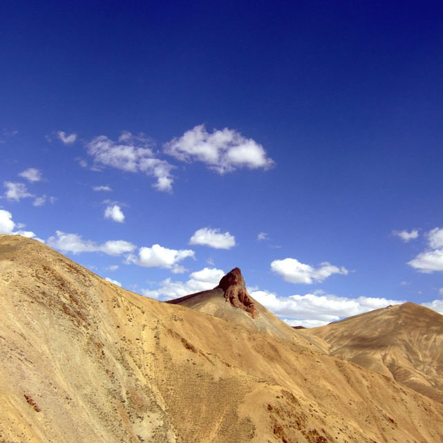 Elephant shaped rock on top of a mountain in Ladakh, India