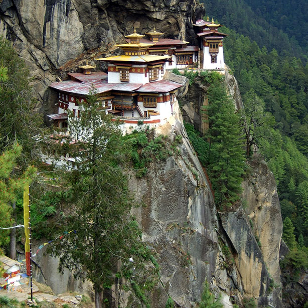 The trek up to the tiger's nest - taktsang - monastery near Paro, Bhutan