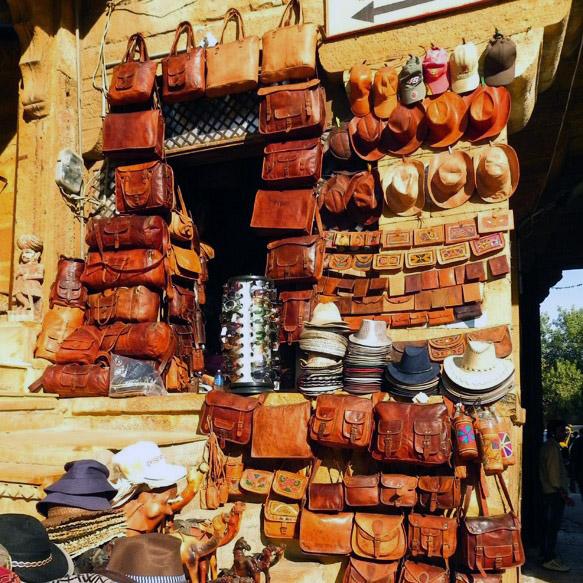 Jaisalmer - Fort wall leaather shop