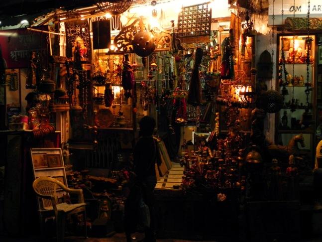 Udaipur - Souvenir shop at night