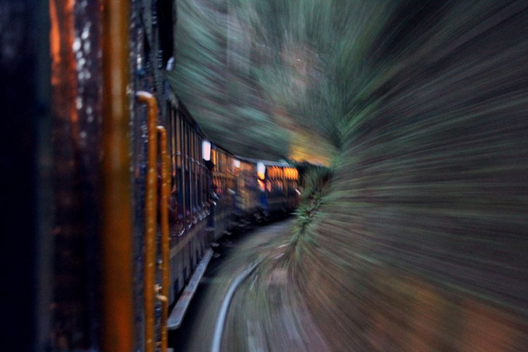 Long exposure of mountain train from Ooty to Coonoor