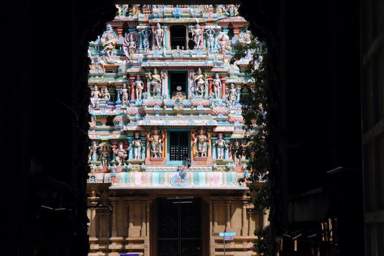 Madurai - view through north gopuram