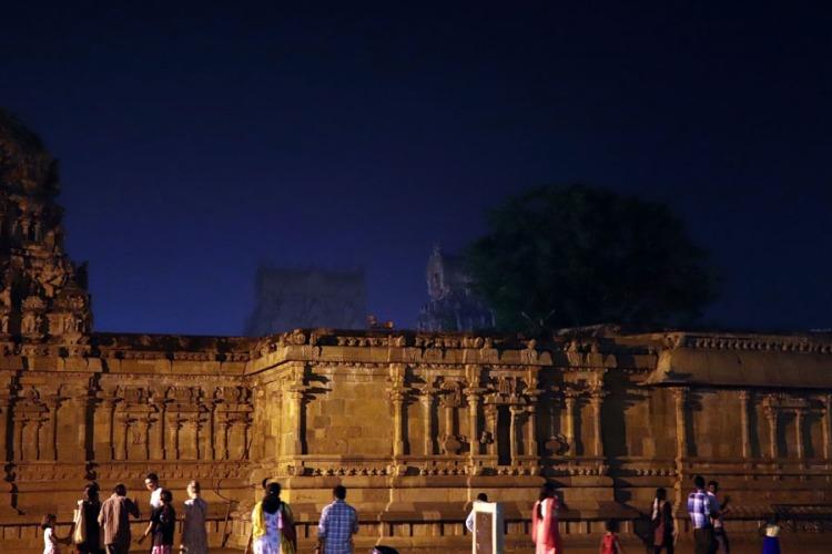 Thanjavur - night View back to gopurams
