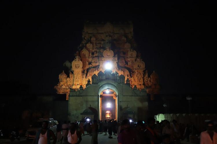 Thanjavur - Outer gopuram at night