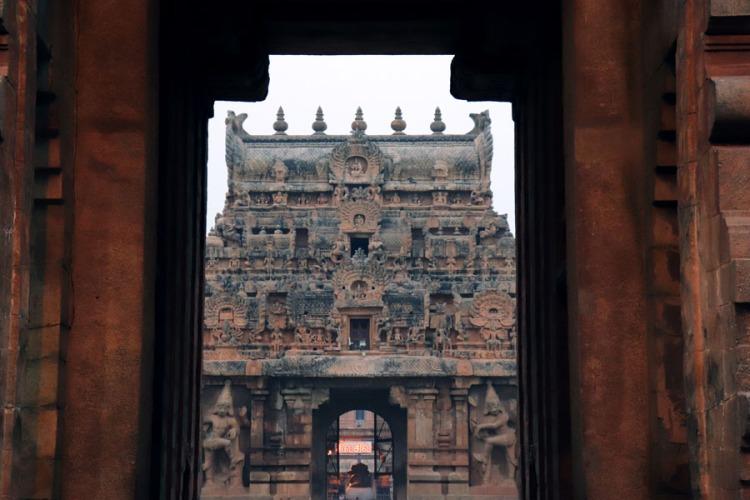 Thanjavur - View of innder gopuram