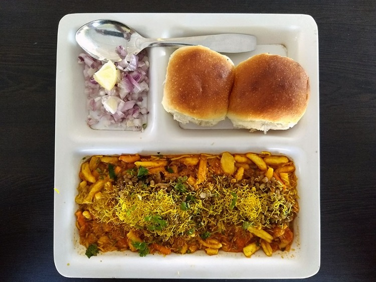 Misal pav - mixed snacks with spicy gravy and bread - Maharashtra